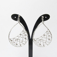 Matte Silver Plate 'clip on earring' R4MR teardrop filigree dangle earring big statement earring wedding clip on earring non pierced earring
