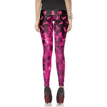 Cat Flames Women's Hot Pink Slim High Waisted Elastic Printed Fitness Workout Leggings
