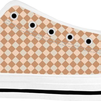ROLT Diagonal Tan and Brown Checkered Low Tops