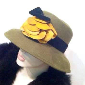 Vintage Green Wool Hat Yellow Flower Wide Brim Millinery Made in USA