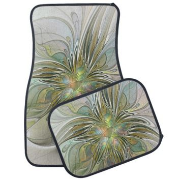 Floral Fantasy, Abstract Fractal Car Floor Mat