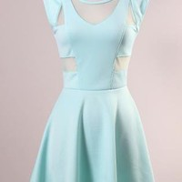 Mint Flare Dress with Mesh Cut Out Detail & Keyhole Back