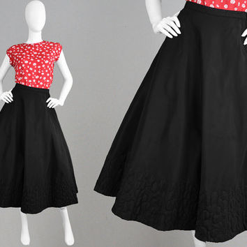 Vintage 50s Taffeta Skirt 1950s Full Skirt Long Black Skirt Half Circle Quilted Skirt Matelasse Rockabilly Skirt Swing Skirt Jive Party