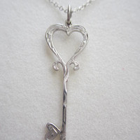Silver Key Necklace. Silver Key engraving pendant. Silver key pendant. Handmade engraving key. Silver Key charm with chain