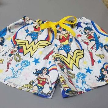 Wonder - woman - dc - comics -diana - batman - girlfriend - pj - style - Pajama - boxer - drawstring - shorts