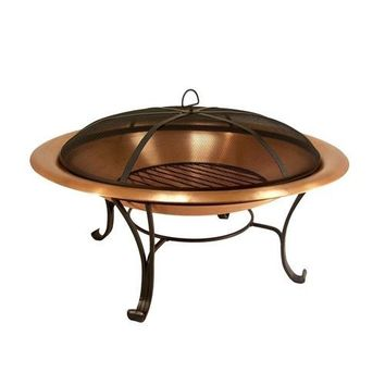 30-inch Copper Fire Pit with Steel Stand and Spark Screen