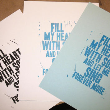 Fill My Heart with Song lyric linocut print, Fly Me to the Moon, Frank Sinatra