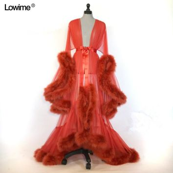 Royal-Infinity: Sexy Muslim Long Sleeve Red Feather Formal Dress Robe