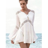 ONETOW 2016 New Beachwear Cover up Cotton V-neck Bikini Cover Up Women Swimsuit Bat sleeve Beach Tunic Sarong Bathing Suit Coverups