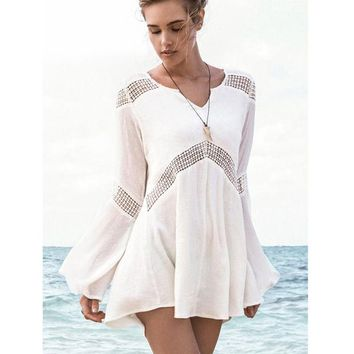 DCCKHG7 2016 New Beachwear Cover up Cotton V-neck Bikini Cover Up Women Swimsuit Bat sleeve Beach Tunic Sarong Bathing Suit Coverups