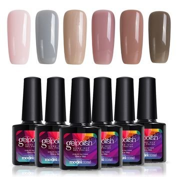 Modelones Soak Off UV LED Gel Nail Polish Set, Great Choice for Office Lady, 6 Pcs, 0.33 OZ