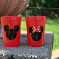 5 Red Mickey Mouse or Minnie Mouse party favor cups