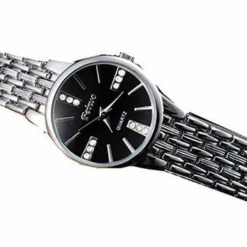 Feiwo Mens Dress Silver Sports Watch w/ Black Face and 12 Crystals