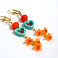 Turquoise Heart Earrings Orange Lampwork Fun Long Dangle Flowers Handmade