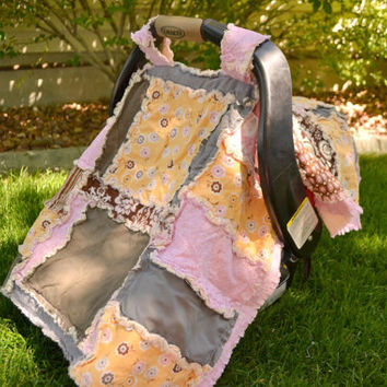 CAR SEAT COVER, Rag Quilt, Pink, Yellow, Brown, Baby Blanket, Ready to Ship
