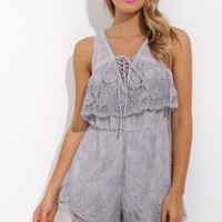 Kiss Me Hello Playsuit Grey