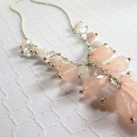 Blush Necklace - Pink Necklace - Pendant Necklace - Gemstone Necklace - Pink Beaded Necklace - Silver Necklace - Gemstone Lariat Necklace