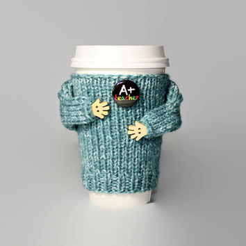 Teacher gift. Back to school cup cozy. Travel mug sleeve. Funny coffee. A+ Teacher. Mug sweater. Starbucks cup. Coworker gift
