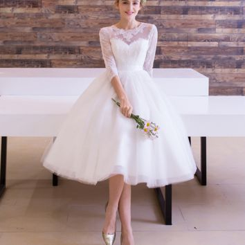 Autumn white new bride wedding dress long sleeves short section bridesmaid dress bridesmaid dress
