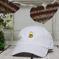 AVOCADO Baseball Hat Curved Bill Low Profile Embroidered Baseball Caps Dad Hats White
