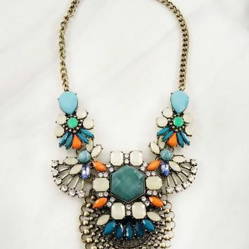 """Full Of Color Statement Necklace"""