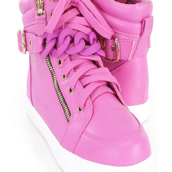 Neon Purple Lace Up Chain Accent Sneakers Faux Leather