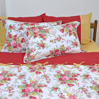 Floral Cottage Bedding Set in Claret Red and Mustard Yellow for Custom Queen or Full Size - 6 pieces, Country Style & Shabby Chic Bedding