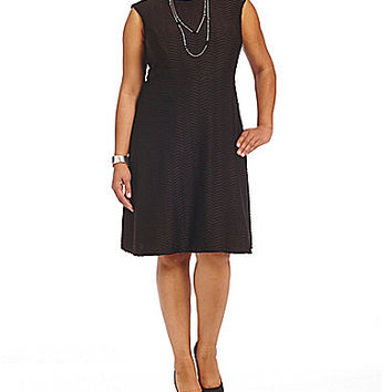 Leslie Fay Plus Textured Fit-and-Flare Dress - Black