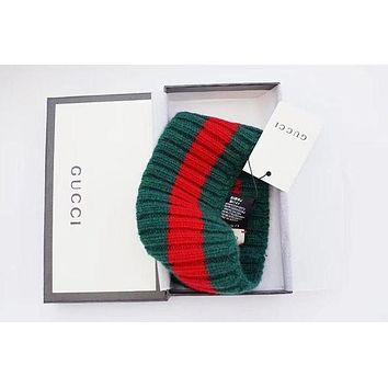 Gucci Fashion Trending Red Green Stripe Knit Wool Web headband G