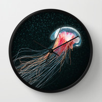 Jellyfish deep sea ocean creature illustration home decor drawing Wall Clock by Bad English Cat