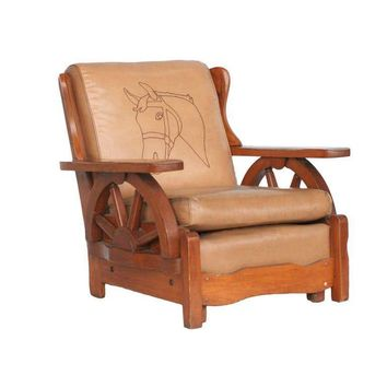 Pre Owned Vintage Western Style Wagon Wheel Lounge Chair