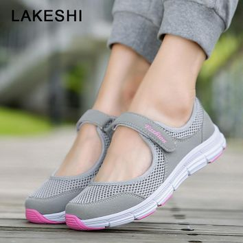 LAKESHI 2018 New Mesh Women Shoes Casual Mary Jane Shoes Round Toe Mother Shoes Breathable Summer Women Flats Walking Shoes