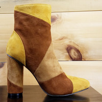 "Paw Mustard Brown Patchwork Fabric Ankle Boot - 4"" Cylinder Heel"