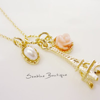 14K gold filled necklace with Paris tower charm with rose cabochon and framed pearl-color bead