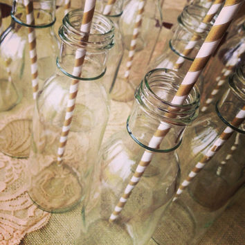 Set of 100 Vases, Drinking 12OZ Vintage Glass Milk Bottles: Weddings, Baby Showers, Bridal Showers, Mason Jars