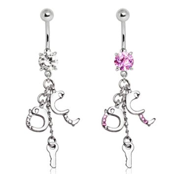 316L Surgical Steel Handcuff and Key Navel Ring