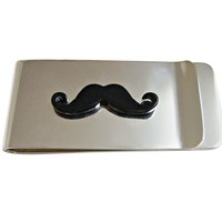 Black Hipster Mustache Money Clip
