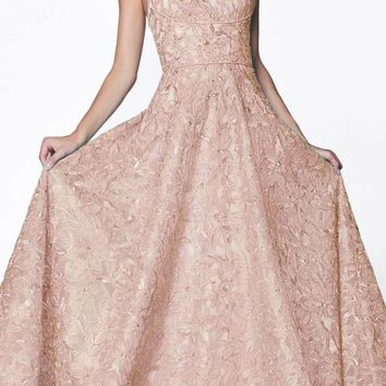 Floor Length Floral Ball Gown Blush V-Neckline And Strappy Back