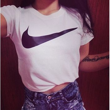 "Casual ""NIKE"" Simple Short Sleeve Shirt Top Tee"