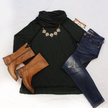 French Terry Cowl Neck Tunic Top