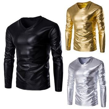 MENS METALLIC SHINY WET LOOK LONG SLEEVE T-SHIRT TOP SLIM FIT V NECK BLOUSE