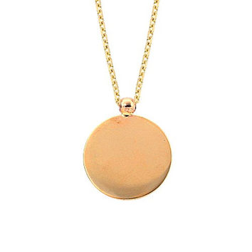 Name Tag 14k Solid Gold Disc Necklace