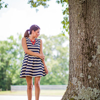 Striped 4th Of July Dress in Navy