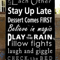 Family Rules Sign - Kids Rules - Typography Word Art