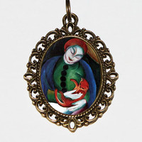 Girl With Cat Necklace, Franz Marc, Expressionism, Cat Jewelry, Oval Pendant