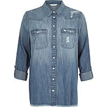 Light blue wash distressed denim shirt