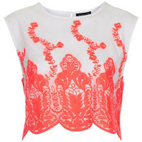 Fluoro Embroidered Organza Top - Tops  - Clothing
