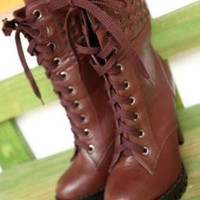 Brown Leatherette Chunky Heel Ankle Boots Shoes S006357