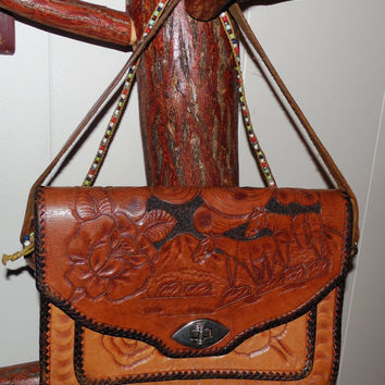 Tooled Leather Western Purse-Worn Leather Purse with Horses