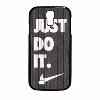 Nike Just Do It Wood Colored Darkwood Wooden Samsung Galaxy S4 Case